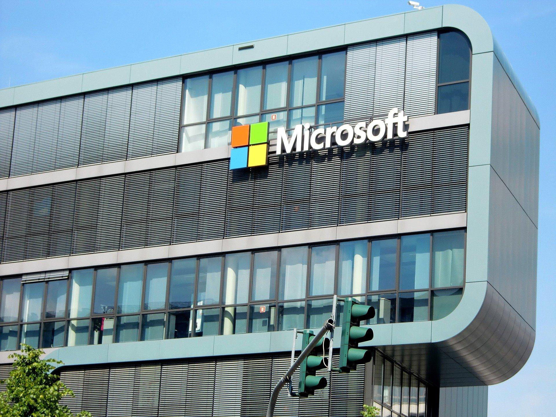 image of Microsoft building across a blue sky